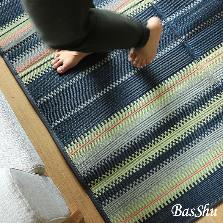 ラグマット BasShu IGUSA RUG BORDER Bタイプ ラグマット 夏用 い草 バッシュ IGUSA RUG 140×200 ヴィンテージ ブラック basshu 長方形 おしゃれ おすすめ 日本製