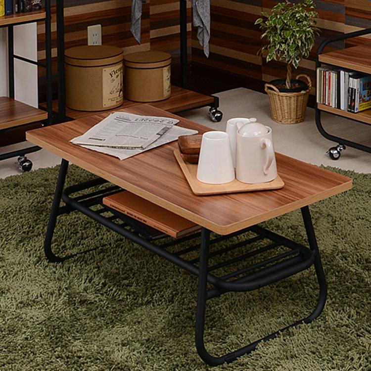 リビングテーブル MUSH リビングテーブル 木製 ヴィンテージ レトロ カフェテーブル センターテーブル MUSH メラミン化粧合板 スチール ナチュラル 北欧 木目 ミッドセンチュリー 収納 本棚 ブックシェルフ