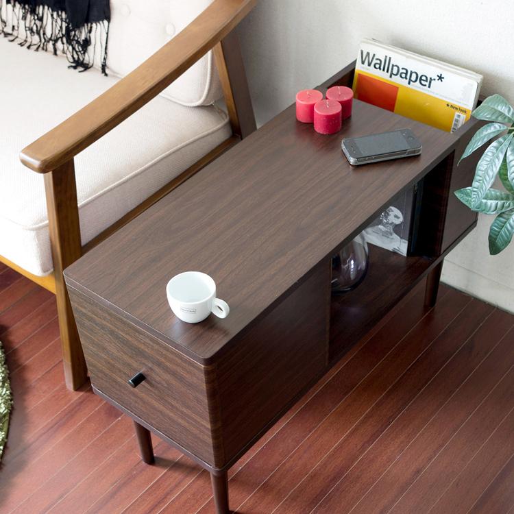 サイドテーブル HOKK(ホック) HOKK ホック サイドテーブル ソファーサイド ベッドサイド リビングテーブル テーブル スリム 収納付き 棚付き 木製 北欧 リビングテーブル カフェテーブル 新生活