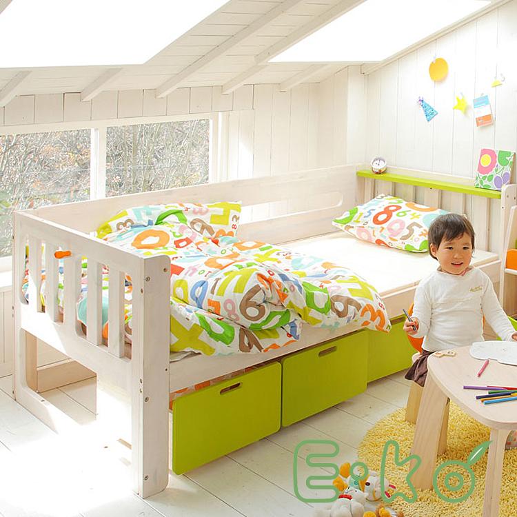 シングルベッド E-ko 子供用家具 キッズインテインテリア 子供部屋 キッズ家具 子供用 E-ko イーコ シングルベッド パイン天然木 ポプラ 天然木 ナチュラル 北欧 ホワイト 白 子供 家具