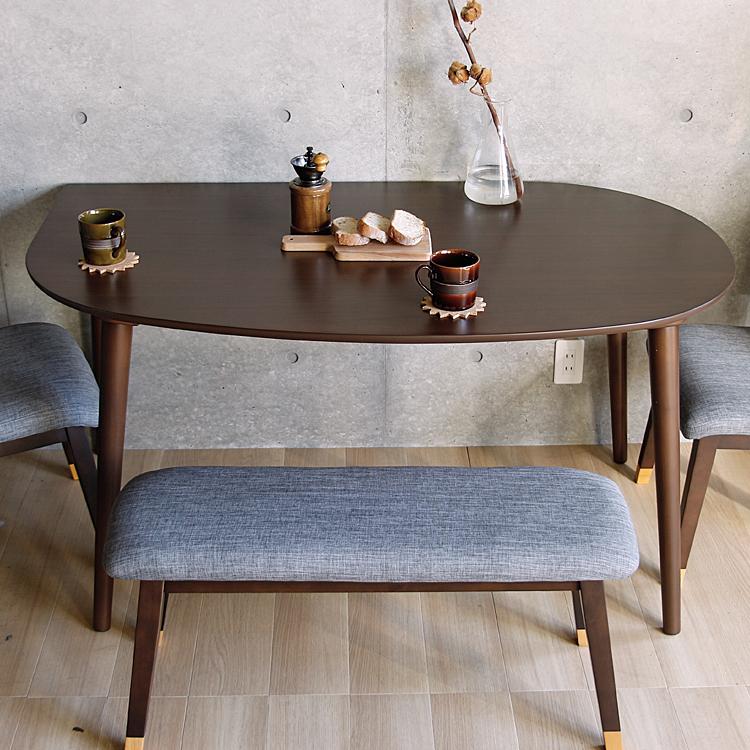 半円形ダイニングテーブル Fritt(フリット)ブラウンタイプ ダイニングテーブル 木製ダイニングテーブル ダイニング テーブル ブラウン ウォールナット オールナット 木製 ウッド シンプル 円形 半円形 楕円形 北欧