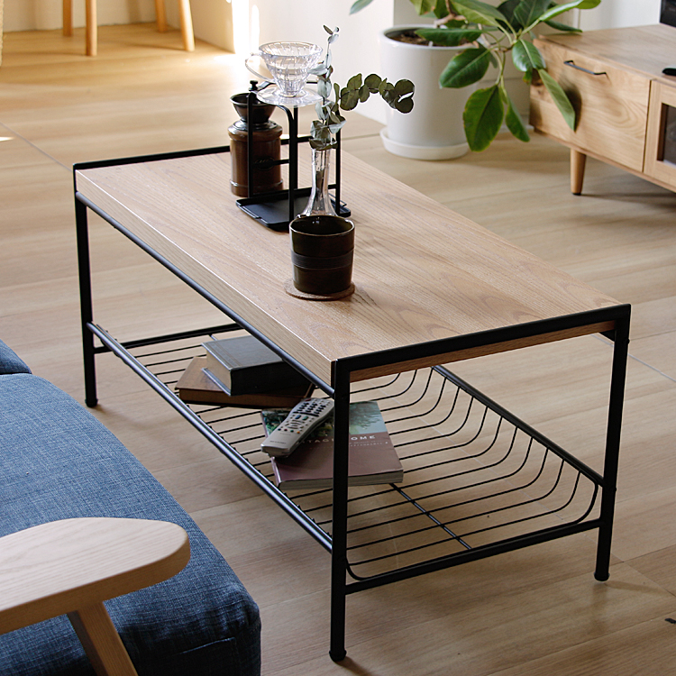 リビングテーブル Dice(ダイス) テーブル 机 リビングテーブル 木製 アイアン 北欧デザイン 北欧 長方形 収納 ヴィンテージ ビンテージ 西海岸 ミッドセンチュリー 幅95cm センターテーブル ナチュラル リビング