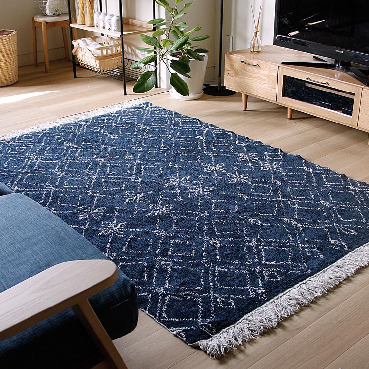 ラグマット NORTICA(ノルティカ) ラグマット ラグ マット 絨毯 カーペット じゅうたん 床暖房 ホットカーペット ヴィンテージ モダン 北欧 西海岸 ナチュラル 140×200cm basshu コットン ネイビー 幾何学