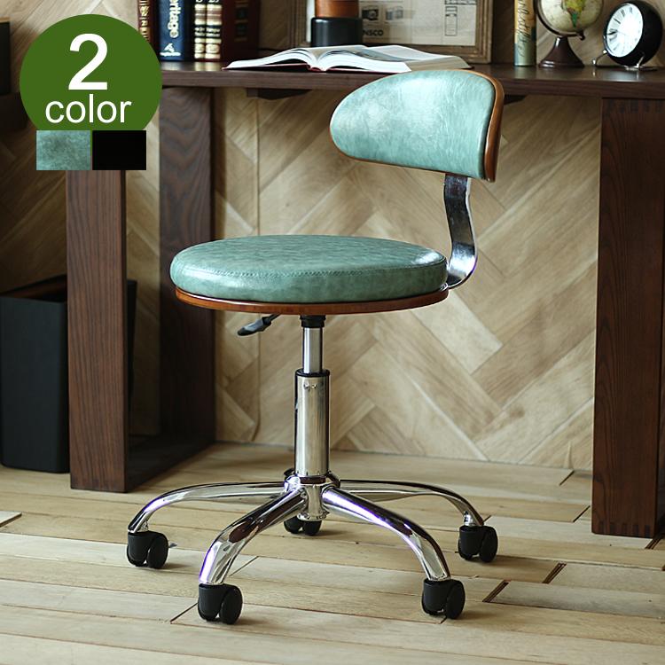 デスクチェア KNOX(ノックス)303 チェアー チェア 椅子 書斎 オフィスチェア ノースチェア KNOX ノックス ワークチェア イス ミッドセンチュリ― レトロ 大人 かっこいい おしゃれ レザー ブラック 黒 グリーン