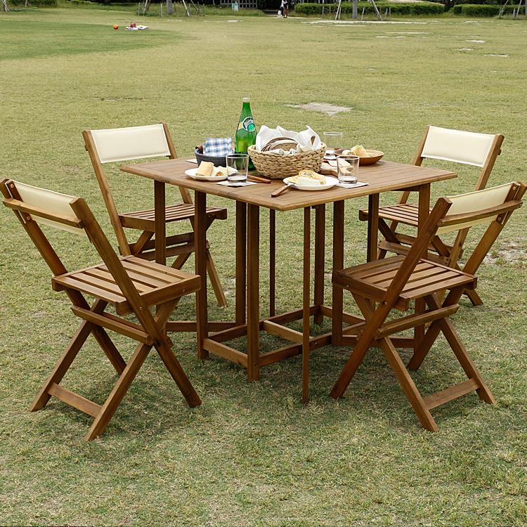 ガーデン5点セット Liccoto(リコット) ガーデン テーブル セット 折りたたみ カフェ風 エクステリア テラス バルコニー 庭 ベランダ 木製 ガーデンテーブル 5点セット シンプル 天然木