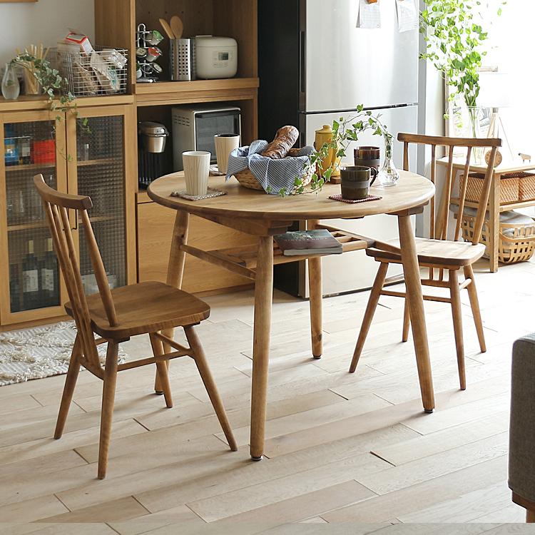 ダイニング3点セット Logie(ロジー) ダイニングテーブル 食卓テーブル カフェテーブル テーブル 食卓 円形 丸 机 90cm 2人 ダイニング キッチン 木製 北欧 ナチュラル 無垢材 木製テーブル アンドジー andj nora logie