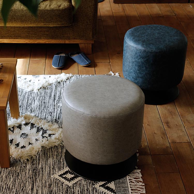 ラウンドスツール PACT(パクト) スツール レザー 回転式 ヴィンテージ 椅子 イス チェア シンプル おしゃれ 人気 食卓 ダイニング リビング 玄関 ネイビー グレー