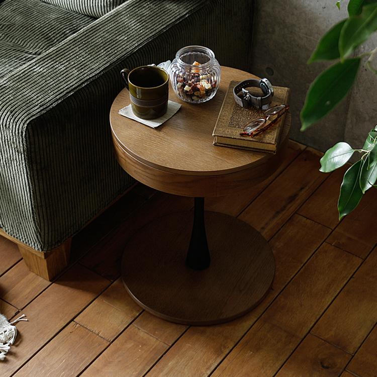 収納付き円形サイドテーブル PPT3(ピーピーティー3) サイドテーブル テーブル 円形 丸型 丸 木製 ベッドサイドテーブル ナイトテーブル サイドワゴン table ソファ ベッド サイド おしゃれ 収納