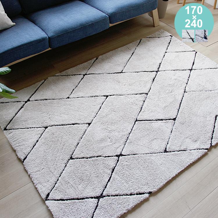 ラグマット Runon(ルノン) 170cm × 240cm ラグマット ラグ ホットカーペット対応 絨毯 じゅうたん ポリエステル マイクロファイバー 幾何学 北欧 メンズライク アイボリー グレー ヴィンテージ ビンテージ 床暖房