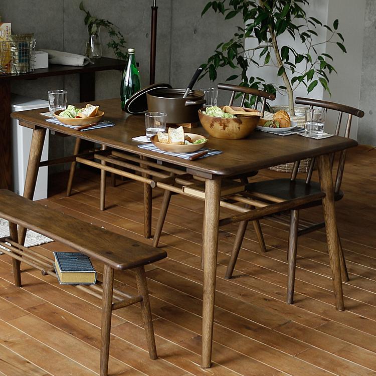ダイニングテーブル SORA(ソラ) ブラウンタイプ ダイニング テーブル ダイニングテーブル キッチン 食卓 木製 4人 テーブル 食卓テーブル 無垢材 北欧 西海岸 モダン カフェ 男前 インテリア ブラウン 125 125cm
