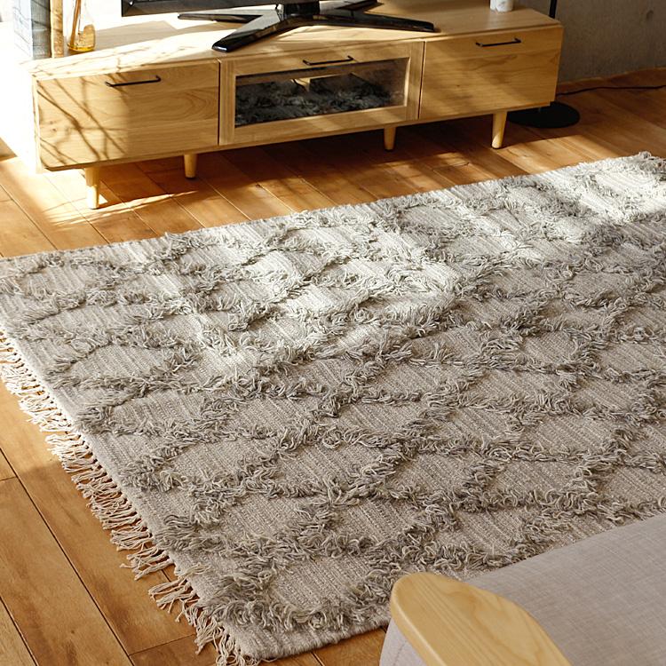ラグマット WOOL CROSS RUG ラグマット ラグ マット 絨毯 カーペット じゅうたん 床暖房 ホットカーペット ヴィンテージ モダン 北欧 西海岸 ナチュラル ウール グレー アイボリー