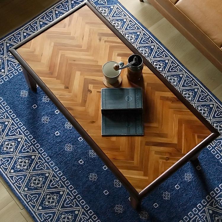 センターテーブル RAKAS(ラカス) センターテーブル 幅110 ローテーブル リビングテーブル テーブル 木製 アカシア 北欧 ナチュラル ブラウン おしゃれ ヴィンテージ ビンテージ ブラウン ヘリボーン