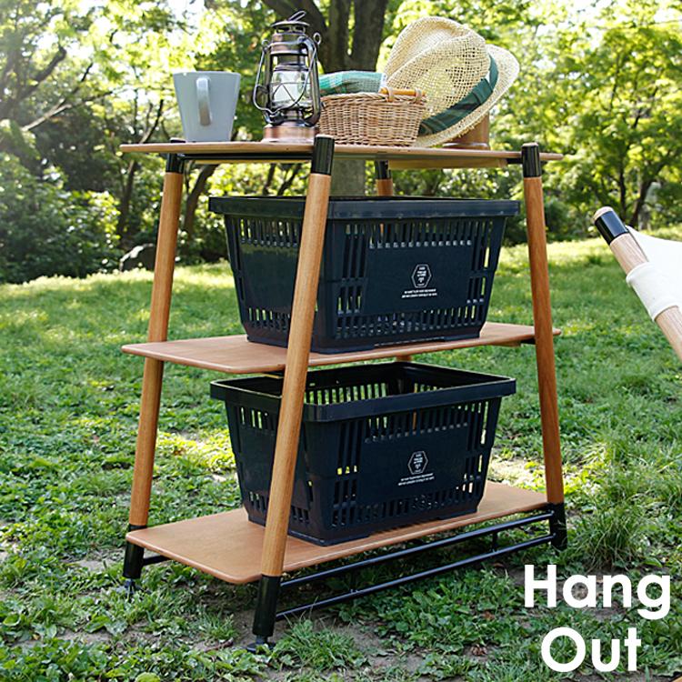 Pole Field 3Rack Hang Out(ハングアウト) ラック ウッドラック 木製 ラック 収納 レジャー ピクニック アウトドア 軽量 キャンプ バーベキュー ピクニック BBQ ガーデン テラス 新生活