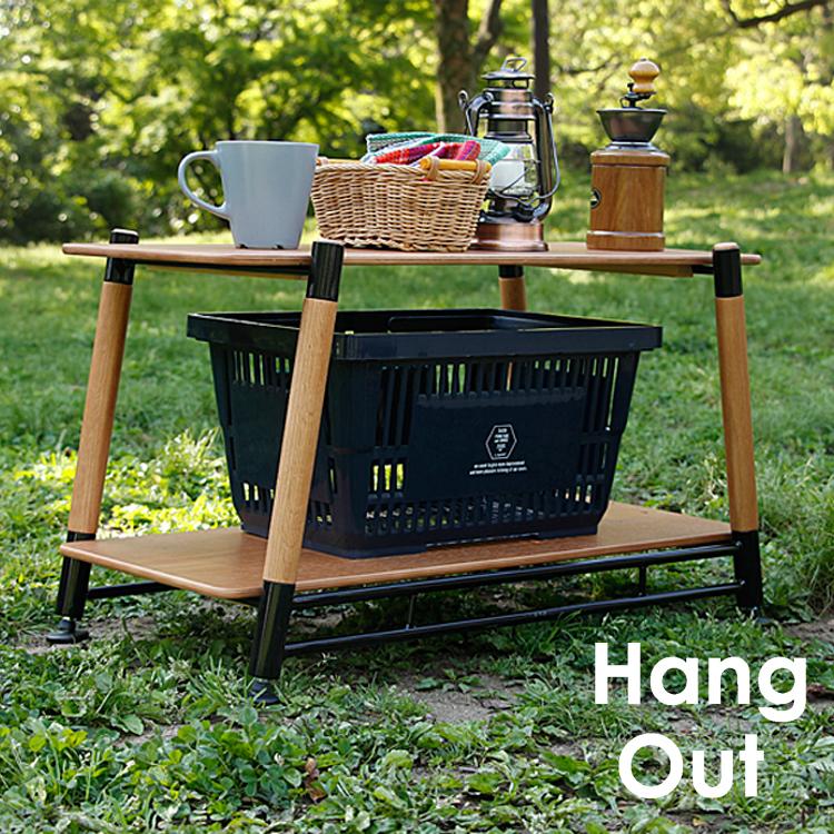 Pole Field 2Rack Hang Out(ハングアウト) ラック ウッドラック 木製 ラック 収納 レジャー ピクニック アウトドア 軽量 キャンプ バーベキュー ピクニック BBQ ガーデン テラス 新生活