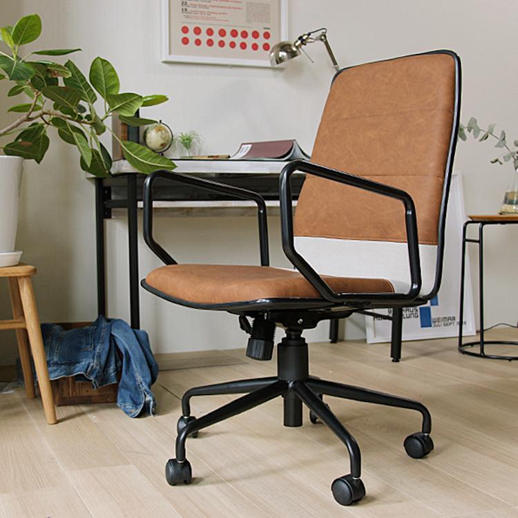 デスクチェアー LEVAN(レバン) オフィスチェアー パソコンチェア デスクチェア おしゃれ ヴィンテージ ビンテージ いす イス 椅子 チェアー キャスター付き PU レザー ワークチェア PCチェア 新生活