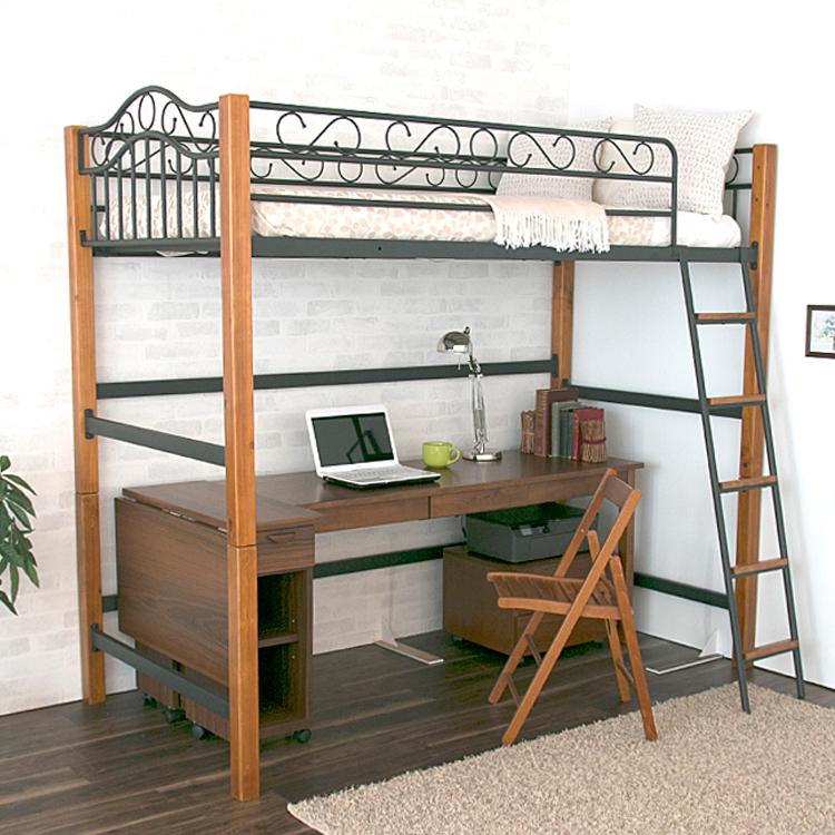 クラシック ハイロフトタイプベッド ベリーズ ベッド ロフトベッド 子供用ベッド アイアンベッド アイアンフレーム はしご クラシック アンティークベッド ロフト 収納スペース 木製ベッド フレーム