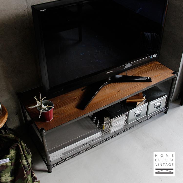 エレクターヴィンテージ ローボード WOOD TYPE ウッドシェルフ×2枚タイプ エレクター erecta ホームエレクター ヴィンテージ シェルフ ローボード TVボード テレビ台 120cm ラック 収納 棚 新生活