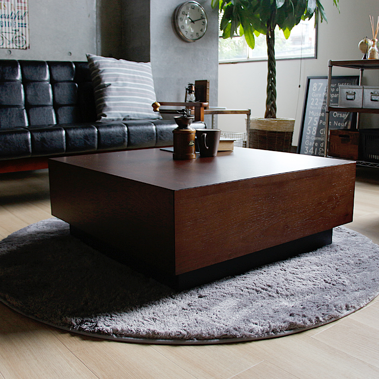 センターテーブル Laca(ラクア) センターテーブル 正方形 完成品 ローテーブル リビングテーブル テーブル 引出し付き 収納 モダン ヴィンテージ ビンテージ 新生活