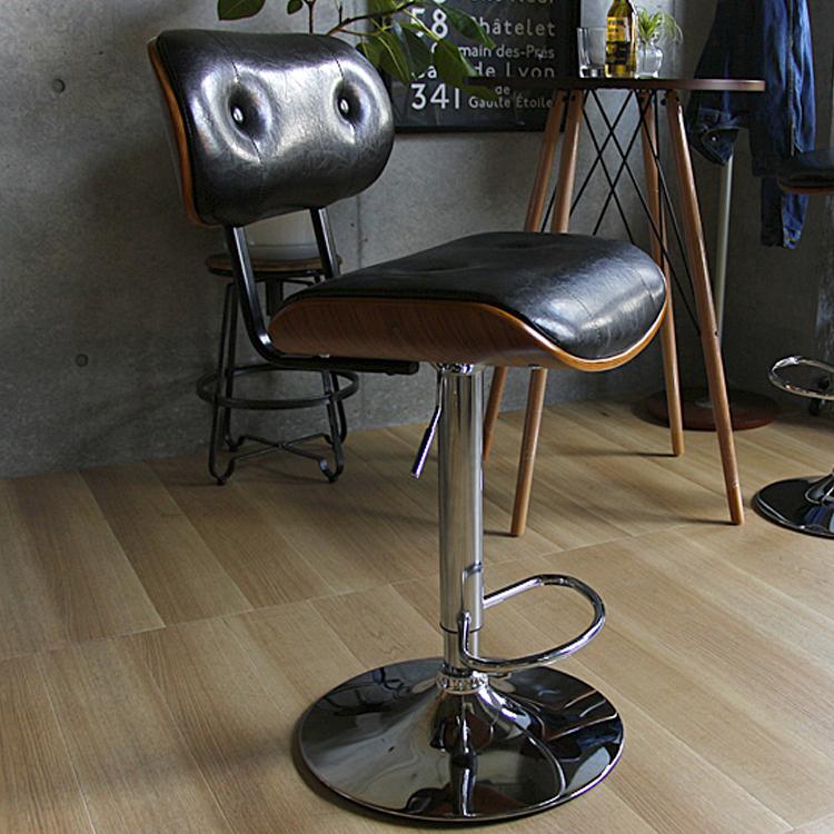 カウンターチェアCタイプ KNOX(ノックス) ブラック ノースチェアKNOX ノックス ワークチェア オフィスチェア イス 椅子 ミッドセンチュリ― レトロ 大人 かっこいい おしゃれ ブラックレザー レッドレザー 新生活