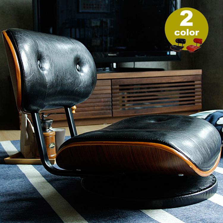360度回転式ローラウンドチェアー KNOX(ノックス) 回転式 椅子 イス チェア チェアー ロータイプ 座椅子 黒 赤 KNOX ノックス