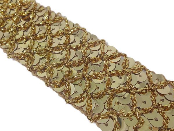 キラキラの金色(ゴールド)の手芸用スパンコールブレード トップスや衣装のデコレーションにオススメ スパンコール ブレード スパンブレード メール便可 送料無料 あす楽 NO.5204スパンコールブレード(金色:ゴールド)幅3.5cm×長さ2m巻き(手芸用)