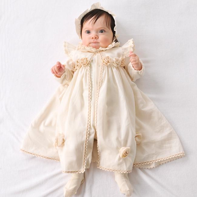 Amorosa mamma 天使の糸 ローズのセレモニードレス 3点セット AC-026[出産祝い 女の子 服]