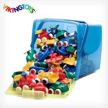 VIKINGTOYS Chubbies バイキングトイズ チュビーズ バケツセット 50個入 41540[(約10cm) 1歳から遊べる柔らかくて安全な乗り物のおもちゃ!北欧生まれの子供のおもちゃで男の子におすすめ]