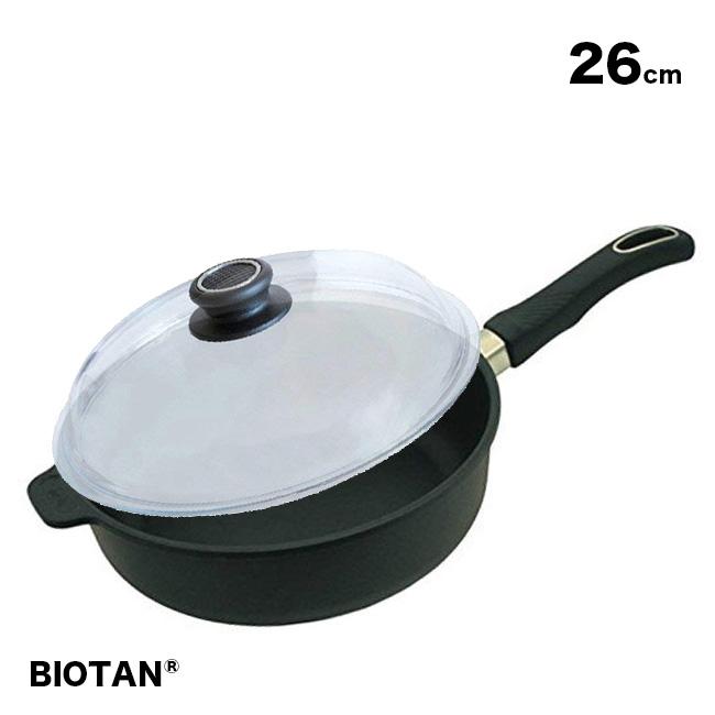 【無料ラッピング対応可】BIOTAN バイオタン 深型フライパン26cm(IH非対応)226A+ドーム型ガラスフタ パイレックス 26cm 26-0[こびりつきにくい!ふた(蓋)付き深いフライパン(ガス/ガスコンロ対応)] 送料無料