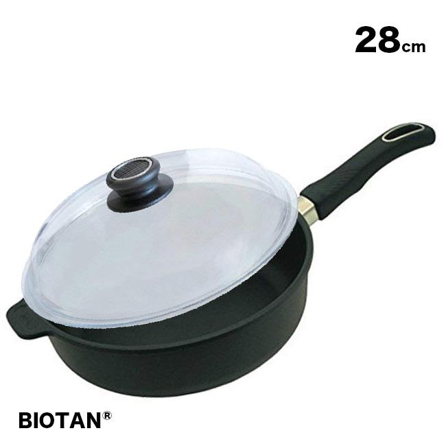 【無料ラッピング対応可】BIOTAN バイオタン 深型フライパン28cm(IH非対応)228A+ドーム型ガラスフタ パイレックス 28cm 28-0[こびりつきにくい!ふた(蓋)付き深いフライパン(ガス/ガスコンロ対応)] 送料無料