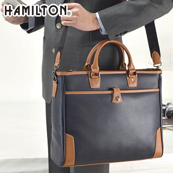 HAMILTON ハミルトン 合皮ビジネスバッグ No.26637黒 紺 ビジネスバッグ 紳士 メンズ 男性 仕事用 通勤 通勤用 バッグ 鞄 B4対応 B4ファイル対応]
