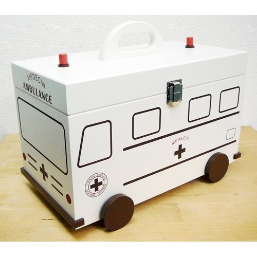 救急箱 救急車 ホワイト 60057[かわいいデザインの救急ボックス 常備薬を整理しながら収納できる救急BOX 持ち手がついたどこか懐かしいレトロな救急箱]