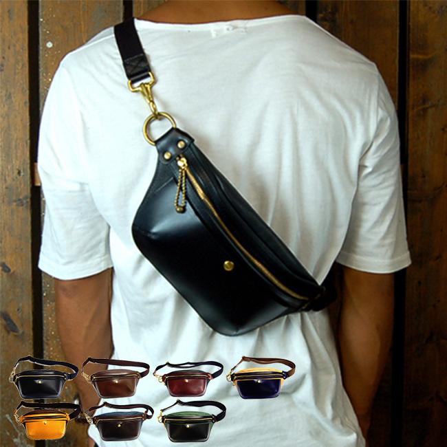 Cramp イタリアンレザー×オイルレザー ポケットバッグ Cr-5007[ウエストポーチ ウエストバッグ ボディバッグ ショルダーバッグ サコッシュ レザー 革 バッグ 鞄]