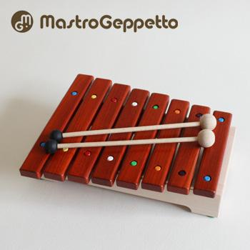 【無料ラッピング対応可】Mastro Geppetto GRILLO マストロ・ジェッペット グリッロ[幼児・子供におすすめの優しい音色の木琴(男の子・女の子兼用 子どもの木でできた楽器/こどもの木製のおもちゃ/木工玩具)] 送料無料