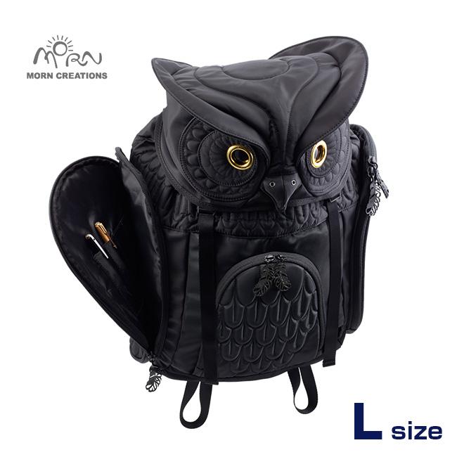 MORN CREATIONS ミミズクバックパックLサイズ OW-111 BLK[ふくろう好きにはたまらない ふくろうグッズ・雑貨 フクロウのかわいい鞄 おしゃれなリュック ふくろうのリュックサック]