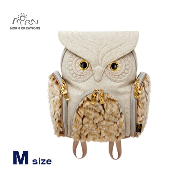 MORN CREATIONS ミミズククラシック フランネル ファー Mサイズ OW-352 WHT[ふくろう好きにはたまらない ふくろうグッズ・雑貨 フクロウのかわいい鞄 おしゃれなリュック ふくろうのリュックサック 女性用]