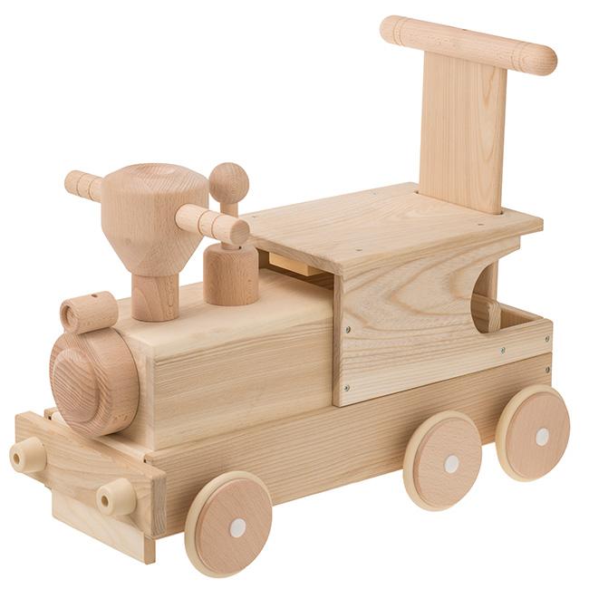MOCCO モッコ 森の機関車 W-040[押し車 手押し車 赤ちゃん おもちゃ 男の子 女の子 木製 乗用玩具 足けり 手押し 車 おしゃれ]
