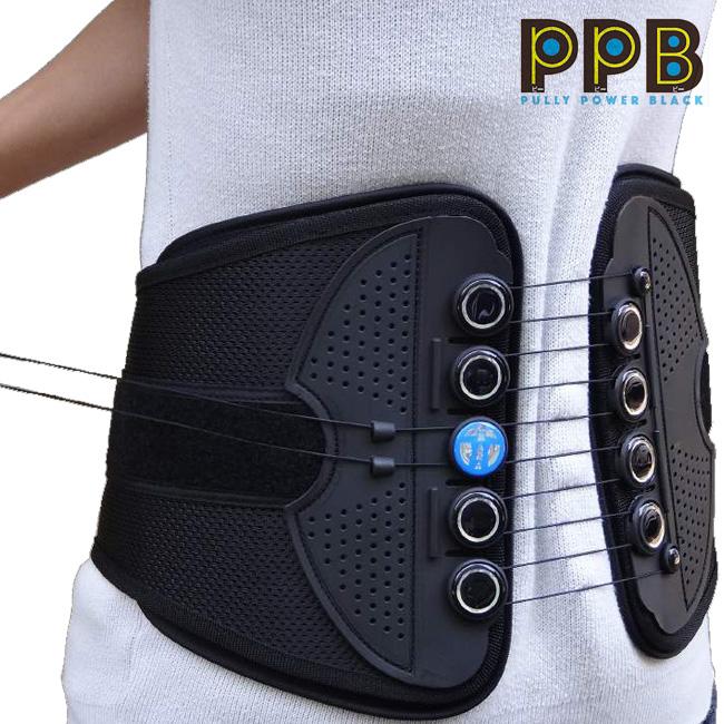 プーリーパワーブラック[腰をサポートするウエストベルト メッシュの腰用ベルト メンズ・レディース兼用 女性にもおすすめのウエストを支える腰サポーターのベルト・メッシュベルト]