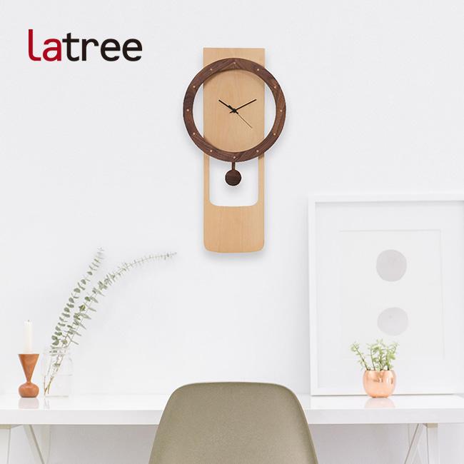 Latree TIME ラトレ タイム ウォールクロック 046 輪-振り子 ビーチ PL1TIM-0460000-BWOL[木の壁掛け時計 文字盤がお洒落な木製クロック 木目が美しい個性的な振り子時計 和室・洋室どんなインテリアとの相性が良い木製の時計]