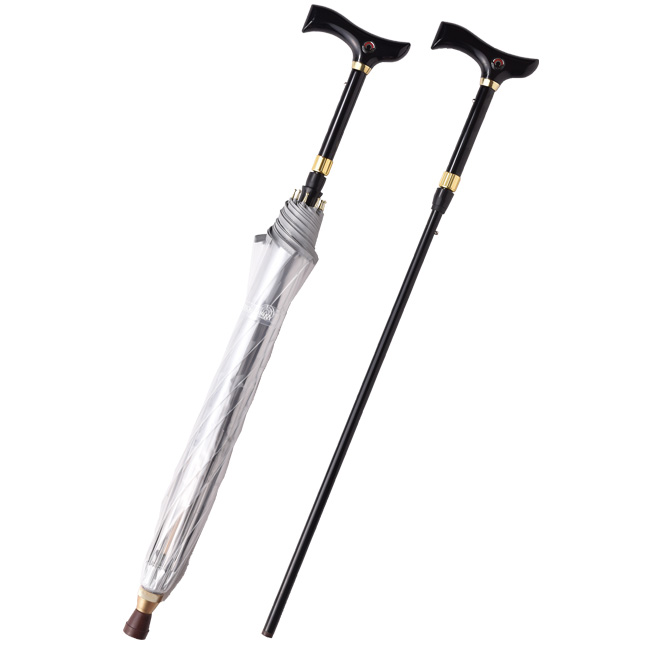 仕込傘 信のすけ[仕込傘 信のすけ 仕込み傘 傘とステッキの二刀流で全長は5段階調節可能 オリジナル収納袋付き 杖付き傘は母の日や父の日のギフトに最適]