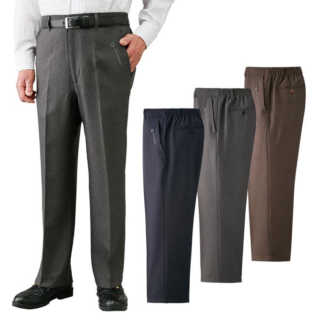 JACK BROWN ジャックブラウン ウエスト楽々スラックス3色組 C909152[男性 メンズ スラックス 小さいサイズ 大きいサイズ ノータック ズボン パンツ すそ上げ済み 裾上げ済]