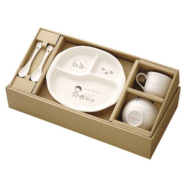 森修焼 しんしゅうやき なかよしセット[陶器のプレートと茶碗(お茶碗)とマグカップとスプーンのセット・子供に安心で安全な食器・日本製食器・環境と健康の事を考えた安全な子供用の皿] メーカー直送