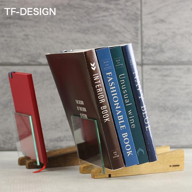 デスク周り 机上 おしゃれ アウトレットセール 特集 小物 本 収納 デスク周り収納 TF-DESIGN ブックスタンド スロープ 卓上 本立て 木製 小さい ラック ブックエンド インテリア 本棚 斜め ブックラック 新作製品、世界最高品質人気! 透明 木 ガラス