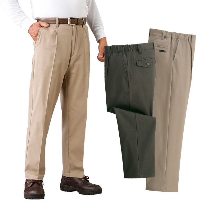 TROY BROS トロイブロス らくらくストレッチチノパンツ3色組 C907150[男性 メンズ スラックス 小さいサイズ 大きいサイズ ワンタック ズボン パンツ すそ上げ済み 裾上げ済]