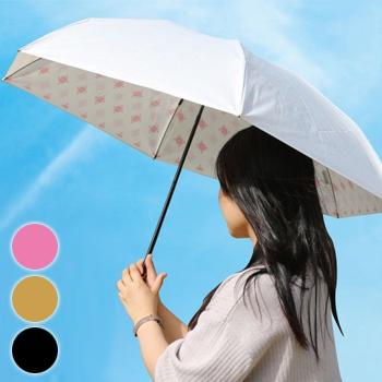 UVION プレミアムホワイト50 ミニカーボン ニューアラベスク スワロフスキー 3940[ブラック/ゴールド/ピンク 傘 折り畳み 晴雨兼用 軽量160g UVカット99%以上 日本製 日傘 雨傘 折りたたみ傘]