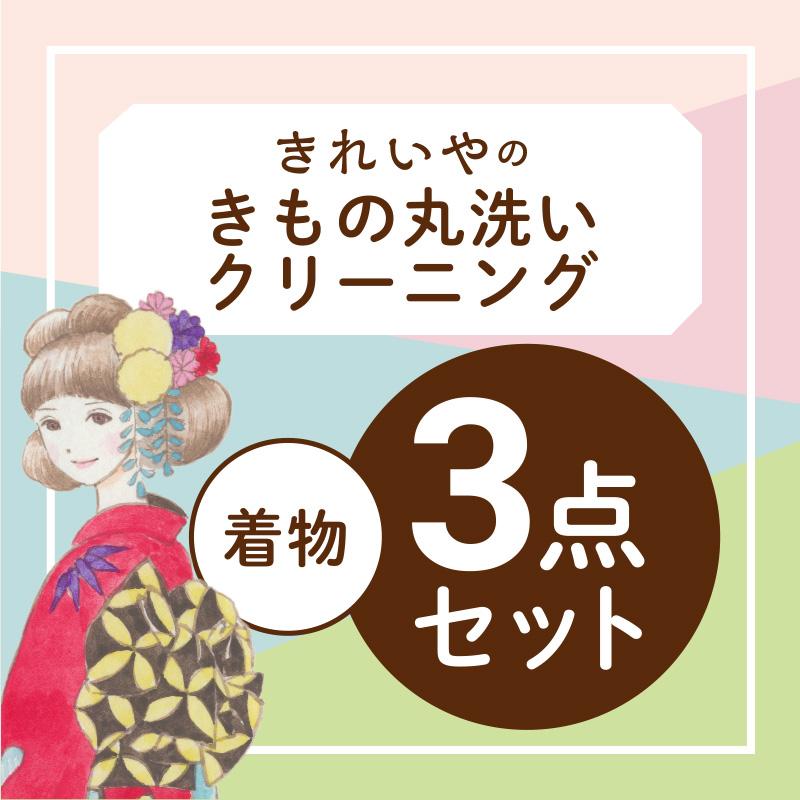 【往復送料無料】丸洗いクリーニング・セット【着物3点セット】