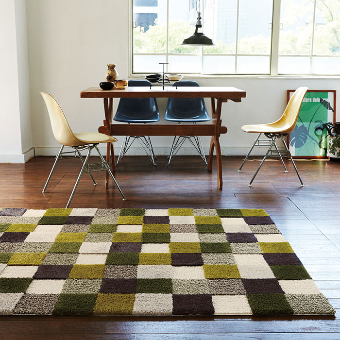 Retro colours of green and Brown grid rug  140 x 200 cm (about 1.5