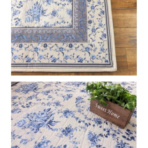 가정에서 씻을 수 있는♪화장실 OK! 품위있는 블루 플라워무늬 래그 185×185 cm 약 2다다미 꽃무늬 캐주얼 프레임 쿠션성 2첩 2다다미 2첩2다다미2첩