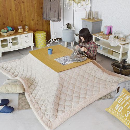 天板のタイルデザインがオシャレ!センターテーブルスマートな木製こたつテーブル【アリス KT-101】サイズ:W105xD75xH37 長方形【簡易組立式】コタツ 炬燵※布団は付いておりません。【メーカー直送】