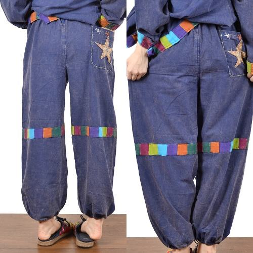 Patchwork pants made in Nepal colourful switchover Stonewashed processing plum pants esnicfashionladies BC1219
