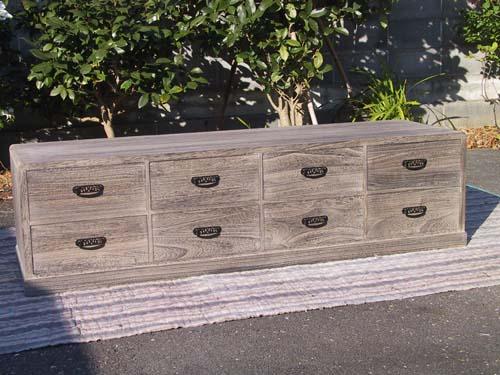 桐たんす 収納 焼桐ローボード(幅1500・時代仕上げ)低いタイプの焼桐箪笥お部屋のレイアウトに・・。製造直売 商品番号65002P11Mar16